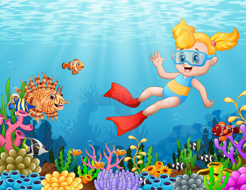 Little girl diving in the sea. Illustration of Little girl diving in the sea stock illustration