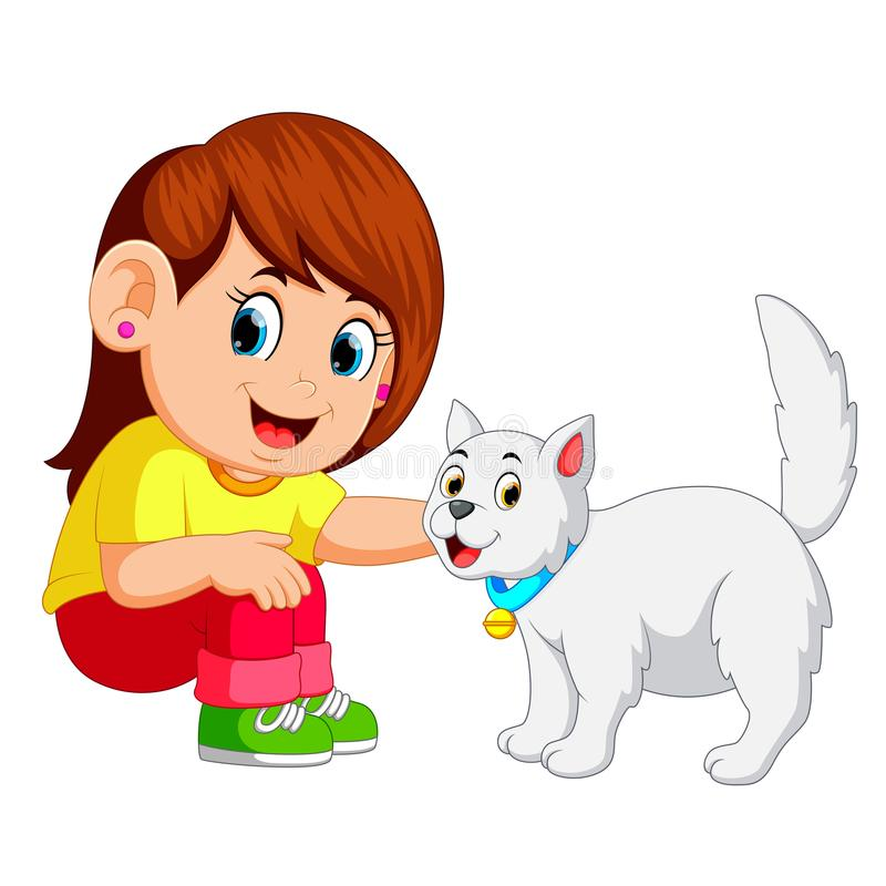 Little girl and her pet cat royalty free illustration