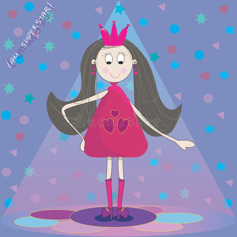 Illustration of little princess on the scene. With blue background vector illustration