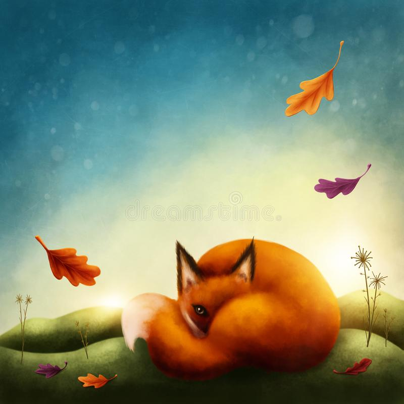 Download Illustration Of A Little Red Fox Stock Illustration - Illustration of fall, animal: 107459755