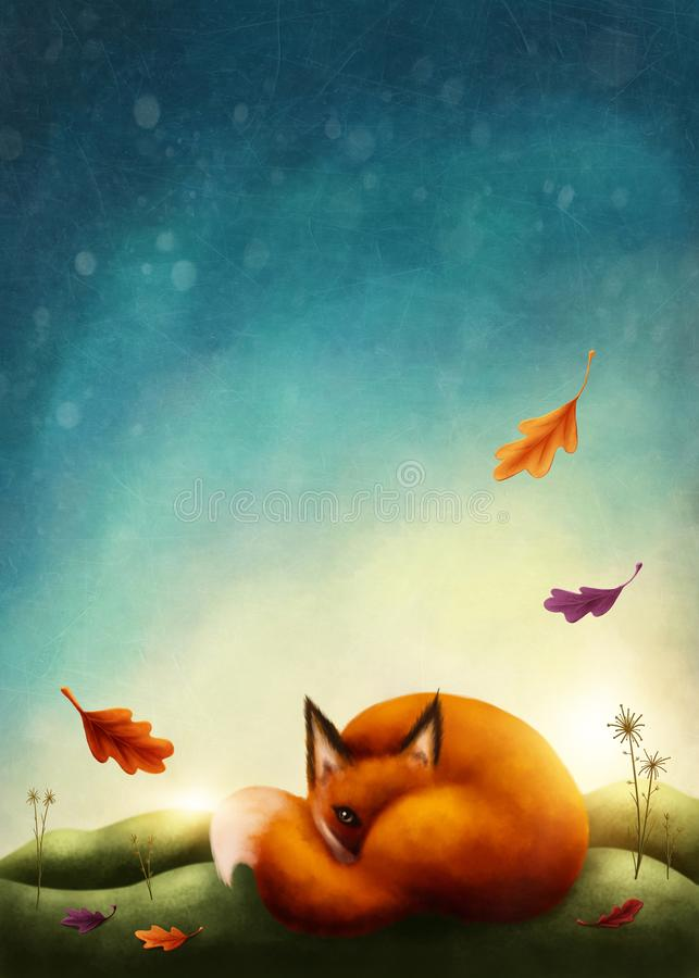 Illustration of a little red fox. In autumn royalty free illustration