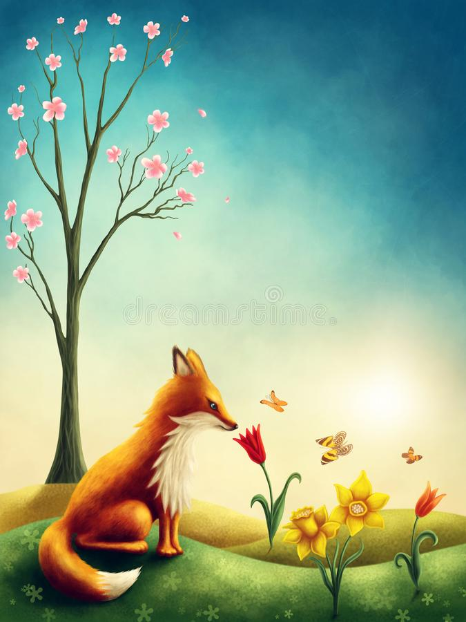 Download Illustration Of A Little Red Fox Stock Illustration - Illustration of cute, white: 107460124