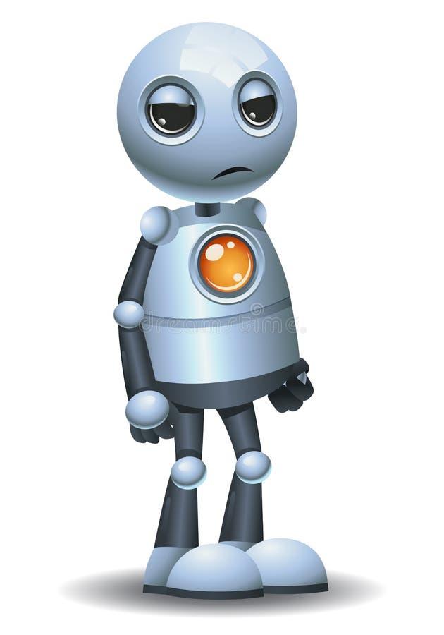 Little robot emotion in annoyed face stock illustration