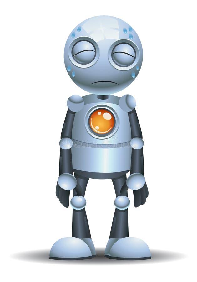 Little robot emotion in tired vector illustration