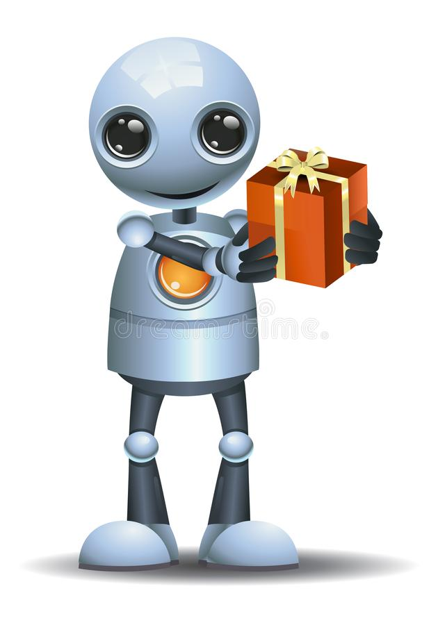 Illustration of a little robot giving present vector illustration