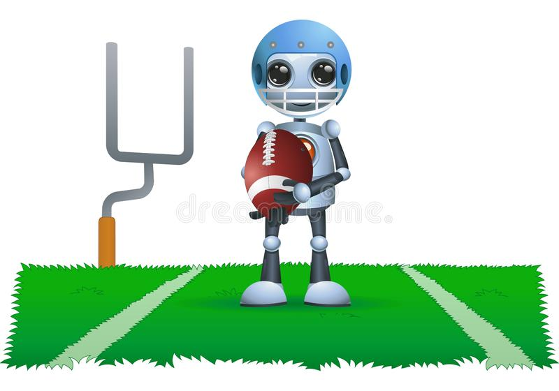 Little robot hold rugby ball. Illustration of a little robot hold rugby ball on isolated white background vector illustration