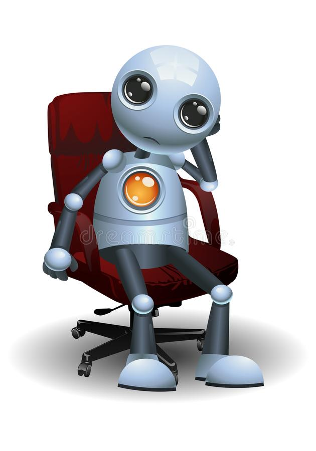 Little robot sit on director chair royalty free illustration