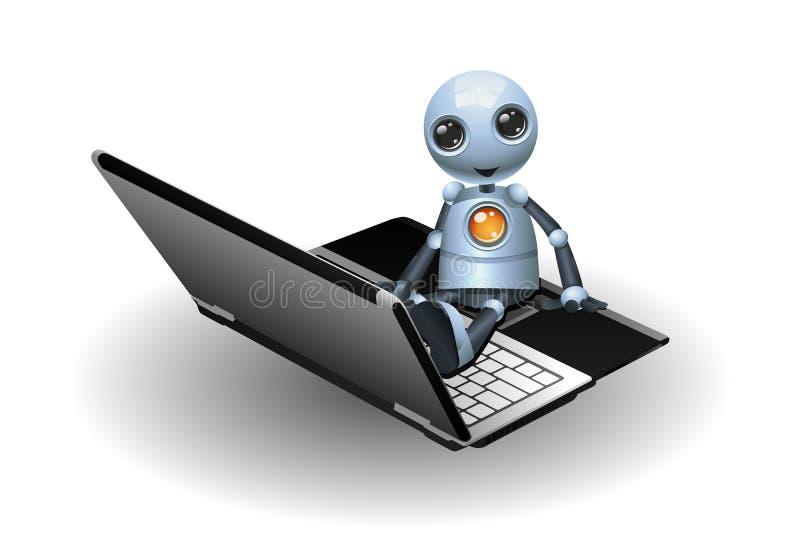 Little robot sit on laptop stock illustration