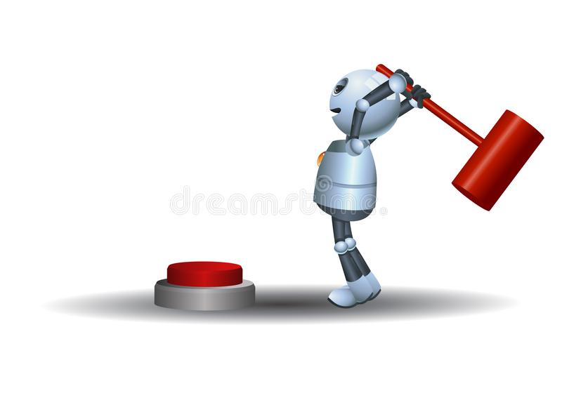 Little robot try to hit button with hammer vector illustration