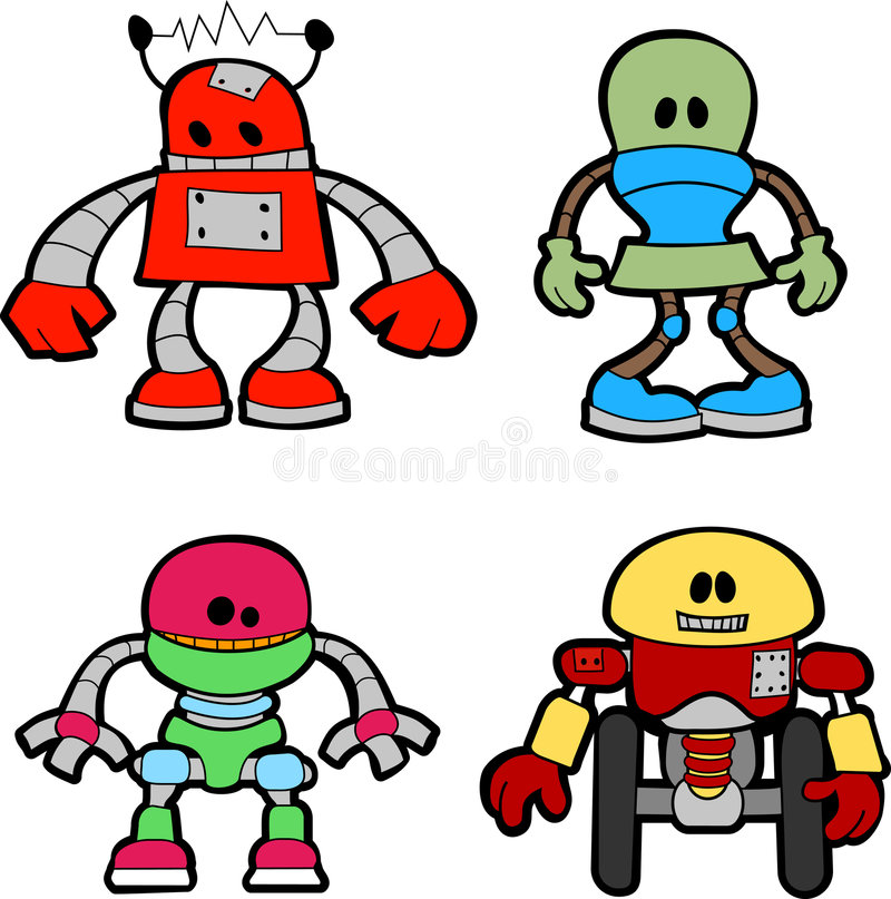 Illustration of little robots. Illustration of variety of little mechanical robots stock illustration