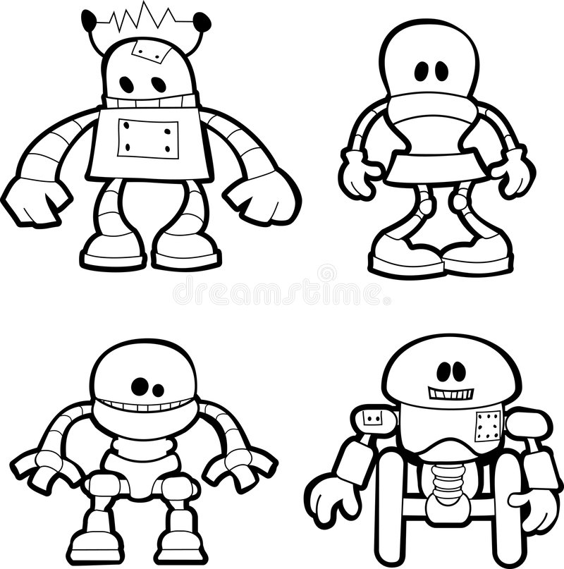 Illustration of little robots. Black and white illustration of little robots vector illustration
