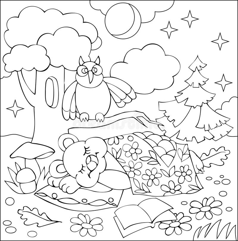 Illustration Of Little Sleeping Bear For Coloring. Black And White ...