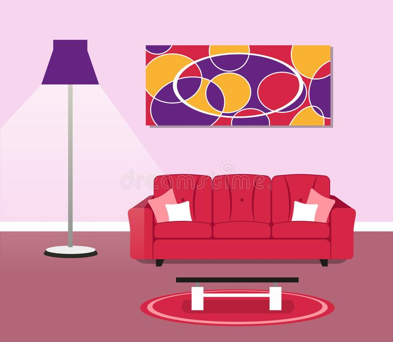 Living room modern design concept. Illustration of living room modern design concept royalty free illustration