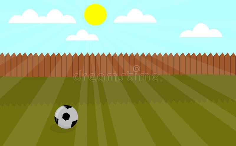 Illustration locale de vecteur de terrain de jeu avec le football illustration libre de droits