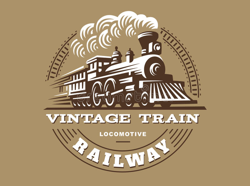 Illustration locomotive de logo, emblème de style de vintage illustration de vecteur