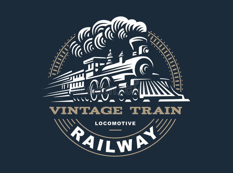 Illustration locomotive de logo, emblème de style de vintage illustration libre de droits