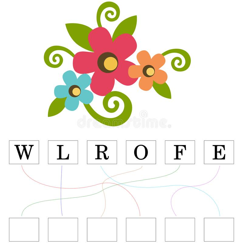 Logic puzzle game for study English with flower royalty free stock photos