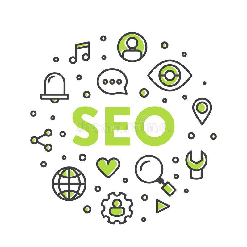 Illustration Logo Concept of SEO Search Engine Optimization Process stock illustration