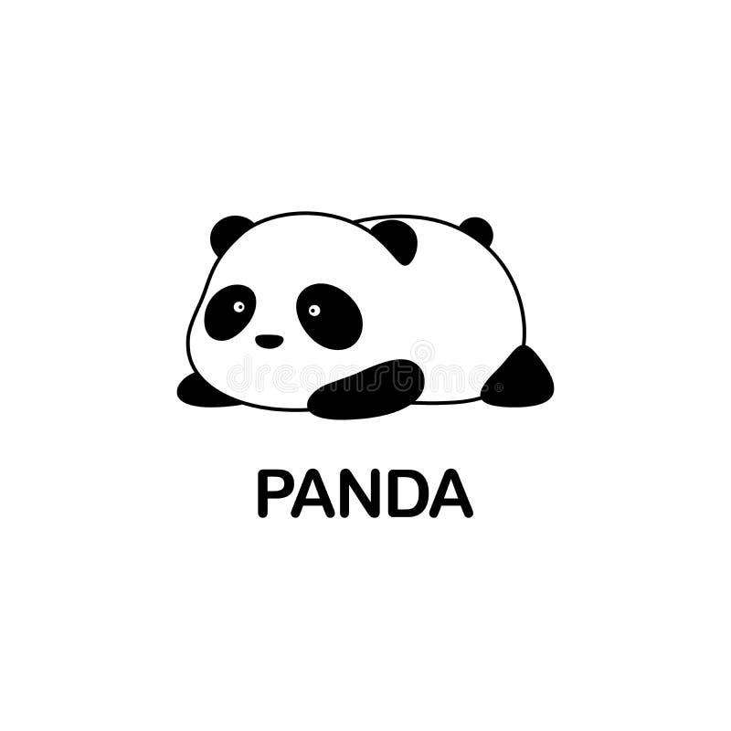 Illustration/Logo Design de vecteur - l'ours panda géant bande dessinée drôle mignonne de bébé de grosse se trouve sur son estoma illustration stock