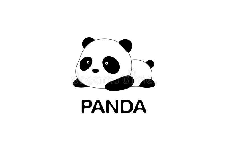 Illustration/Logo Design de vecteur - l'ours panda géant de bande dessinée drôle mignonne se trouve au sol illustration de vecteur