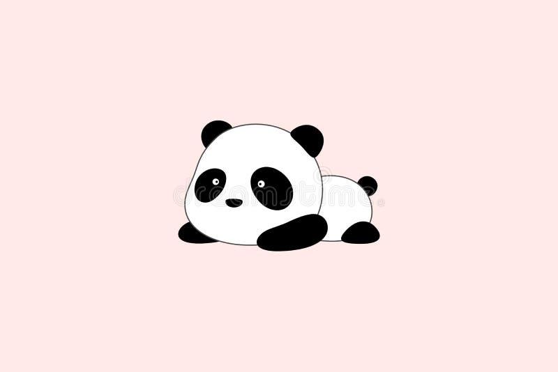Illustration/Logo Design de vecteur - l'ours panda géant de bande dessinée drôle mignonne se trouve sur son estomac au sol illustration de vecteur