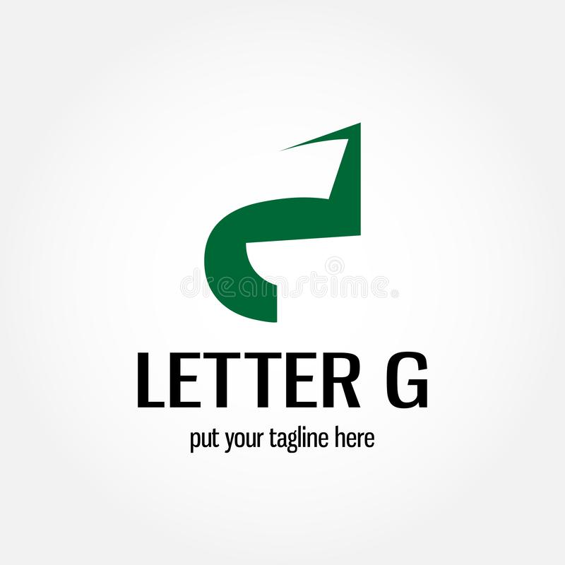 Illustration logo design of letter G with negative space style royalty free illustration