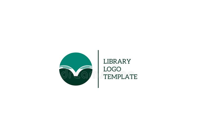 Library logo template. An illustration of a logo with an open book on round base, library, bookstore, literature and education concept stock photos