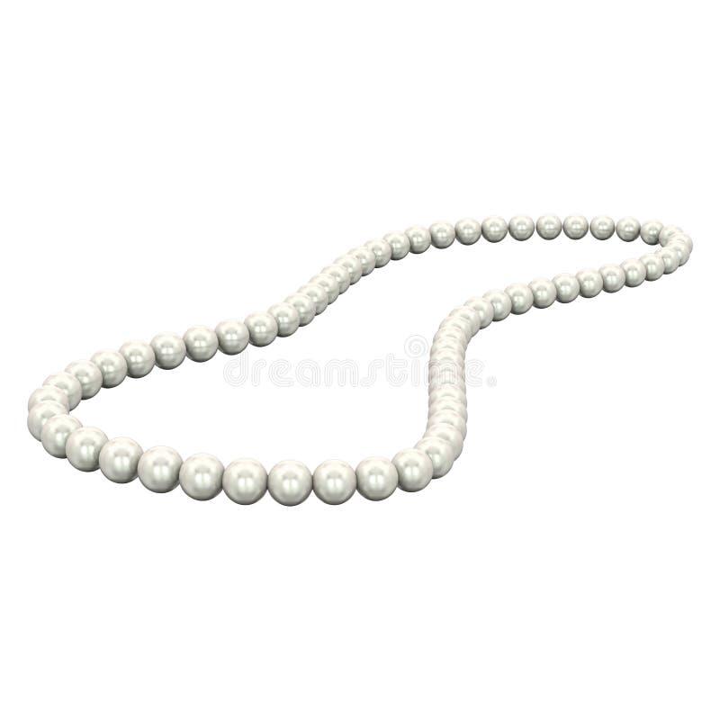 Illustration lokalisierte weiße Halskettenperlen der Perle 3D lizenzfreie abbildung