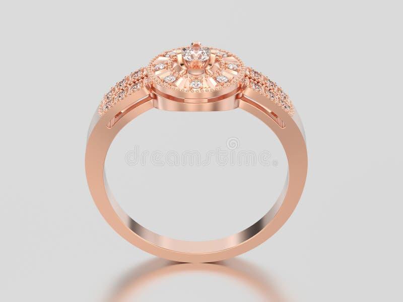 Illustration lokalisierter dekorativer Diamantring des rosafarbenes Gold 3D lizenzfreies stockfoto