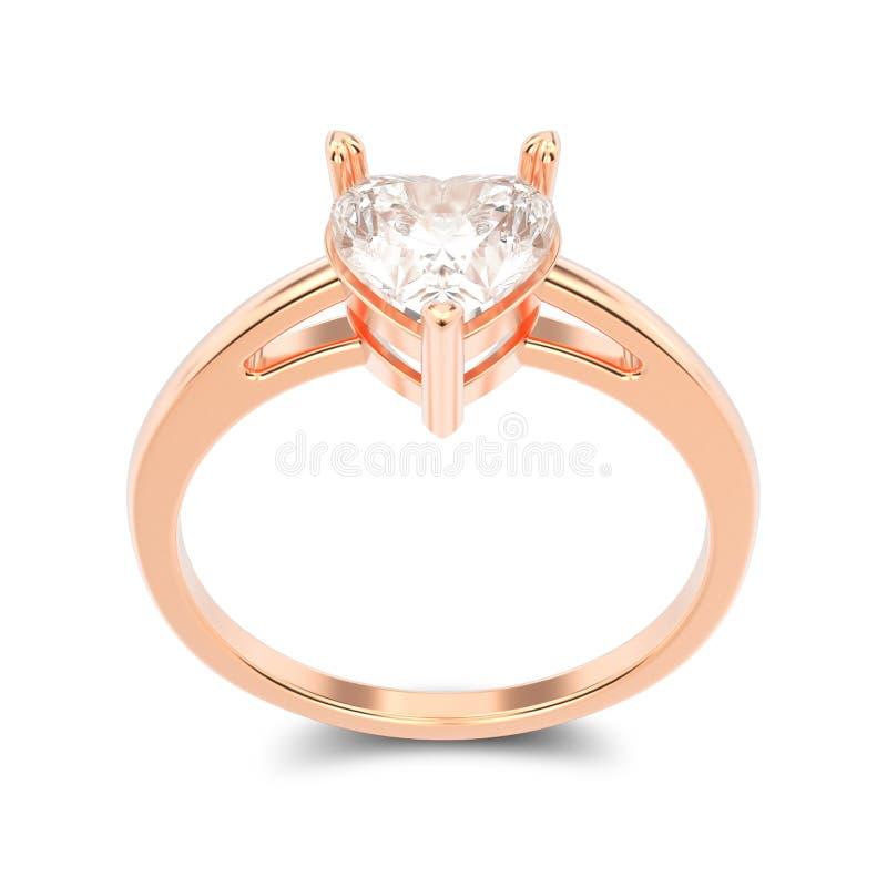 Illustration lokalisierter rosafarbener Verlobungsring des Gold 3D mit Diamanten lizenzfreie abbildung