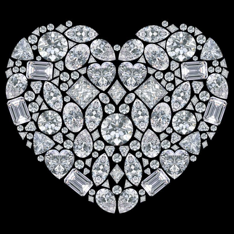 Illustration lokalisiertes Herz der Diamanten 3D lizenzfreie abbildung