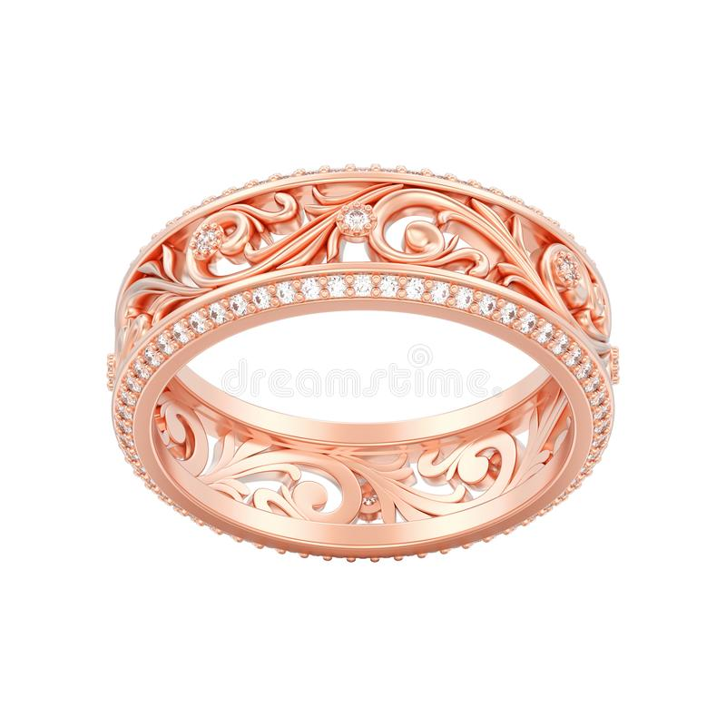 Illustration lokalisiertes Verpflichtungs-Hochzeitsba des Schmucks 3D rosafarbenes Gold lizenzfreie abbildung