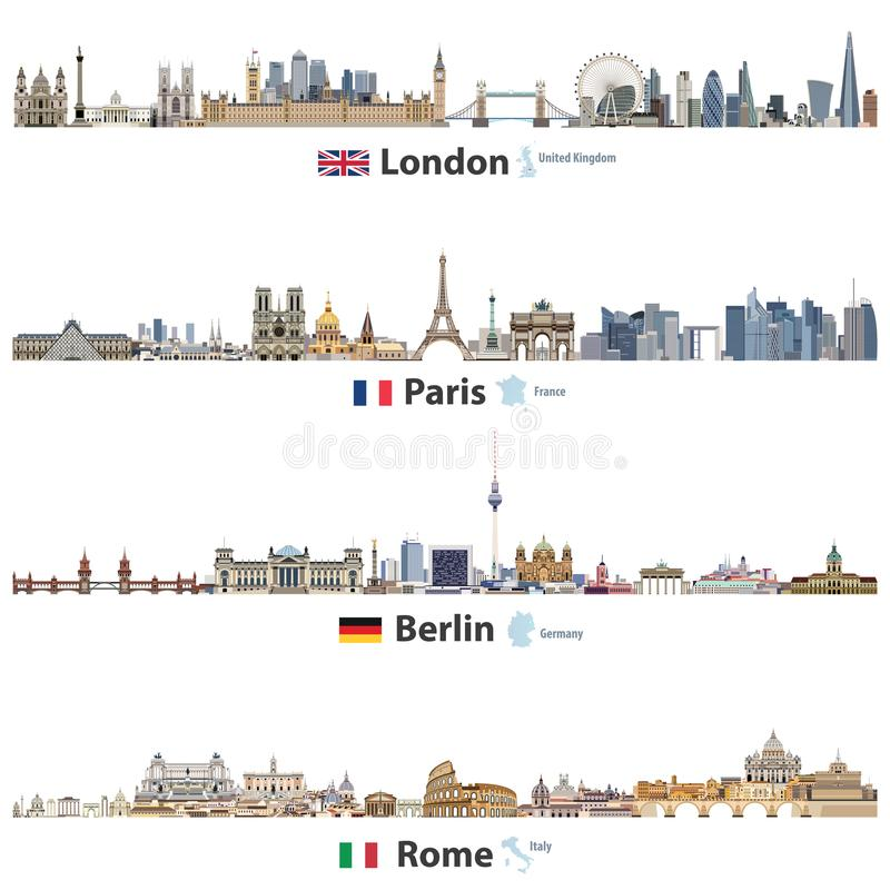 Vector illustration of London, Paris, Berlin and Rome city skylines isolated on white background. Flags and maps of United Kingdom vector illustration