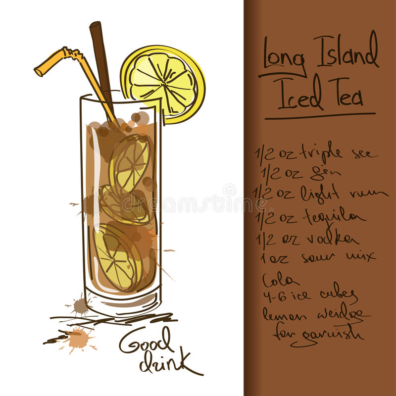Illustration with Long Island Iced Tea cocktail royalty free illustration