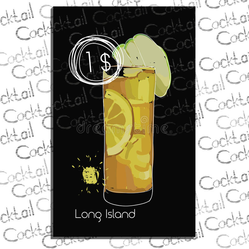 Illustration of Long Island with price on chalk board. Template elements for cocktail menu. royalty free illustration
