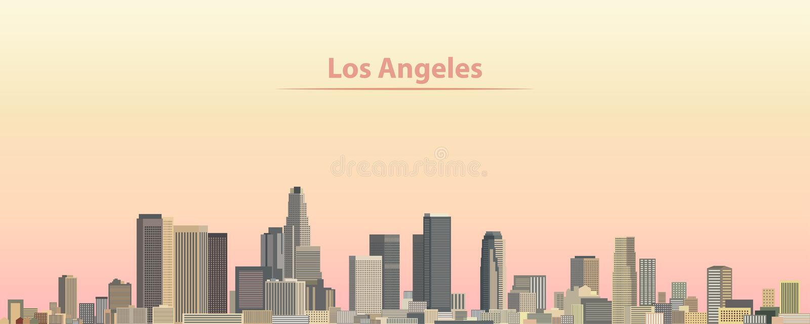 Vector illustration of Los Angeles city skyline at sunrise. Illustration of Los Angeles city skyline at sunrise stock illustration