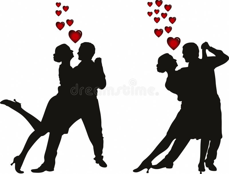 Illustration of love couples silhouette stock photo
