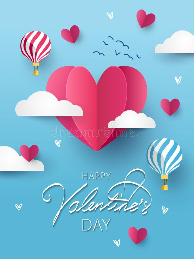 Happy Valentines Day greeting card, poster or flyer royalty free illustration