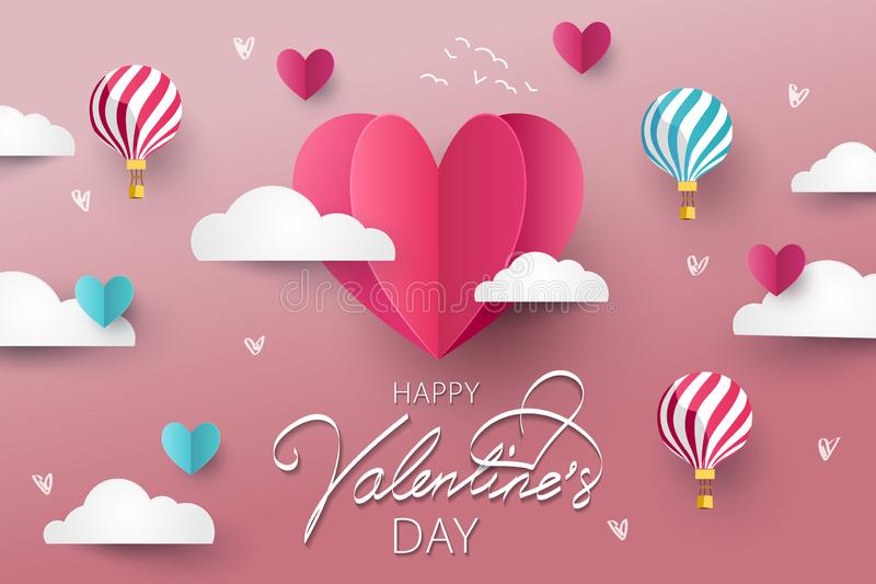 Happy Valentines Day greeting card, poster or flyer vector illustration