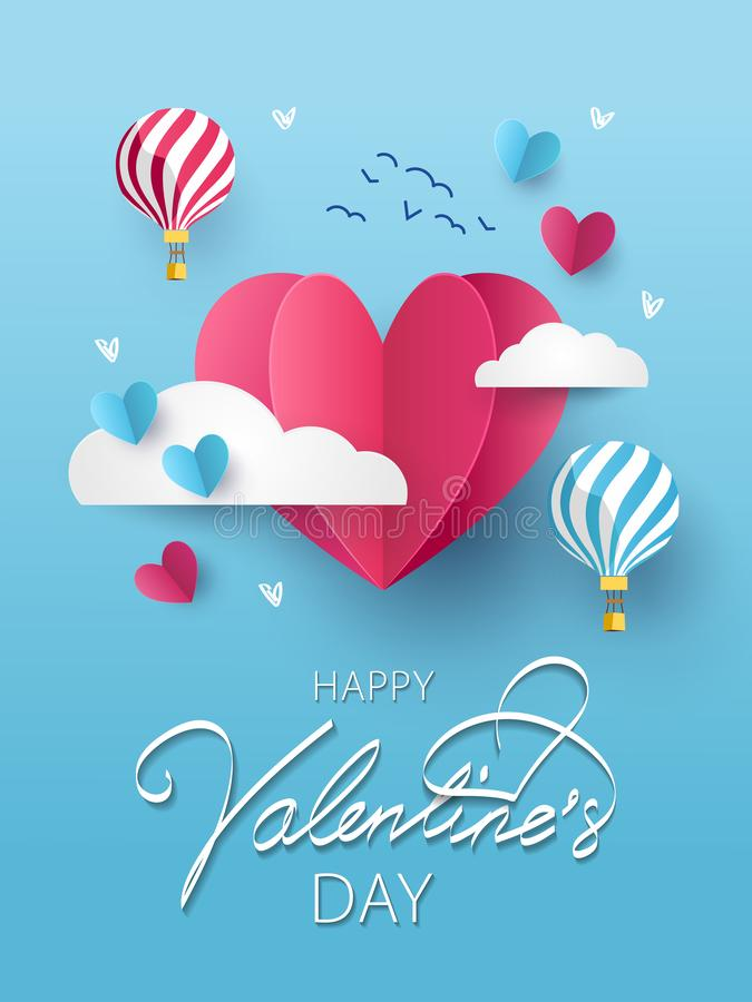 Happy Valentines Day greeting card, poster or flyer stock illustration