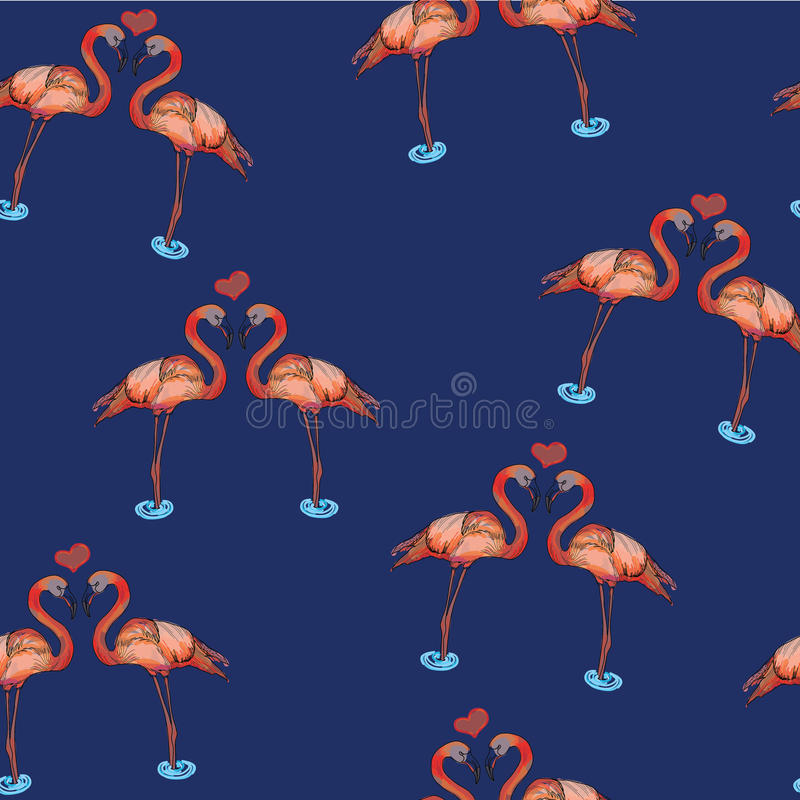 Illustration of love pink flamingos in water royalty free stock photo