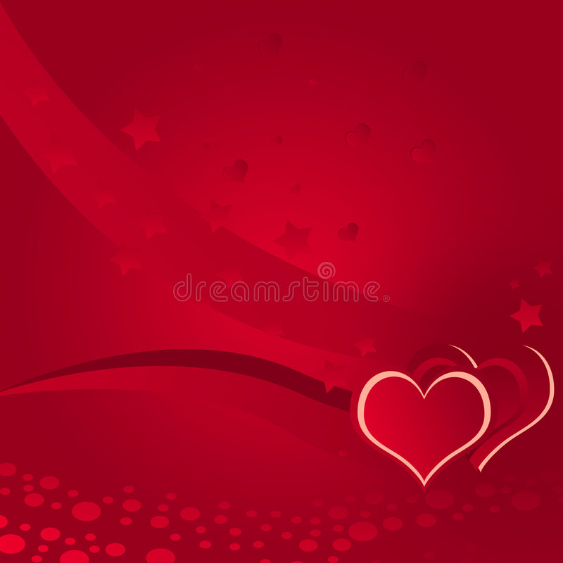 Illustration, love, sprinkling background. Red background with hearts and stars stock illustration