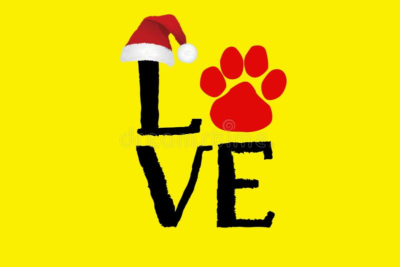 Illustration of Love text with paw print.Happy new year and merry Christmas greeting card royalty free illustration
