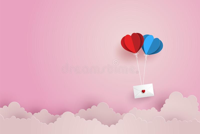 Illustration of Love and Valentine Day,twin paper hot air balloon heart shape hang envelope floating on the sky. vector illustration