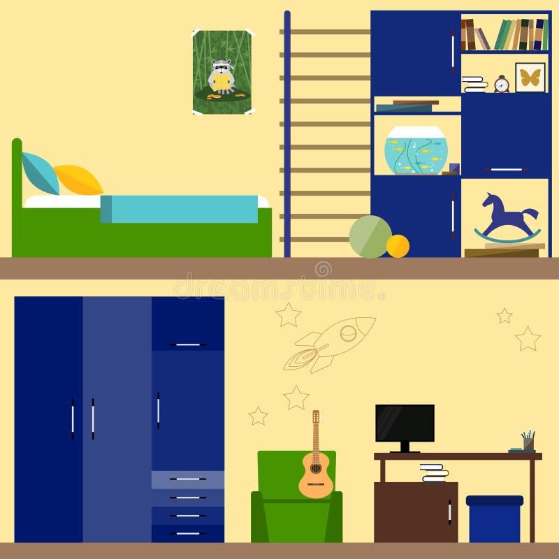 Illustration lumineuse dans le style plat à la mode avec l'intérieur de pièce d'enfants pour l'usage dans la conception pour pour illustration stock