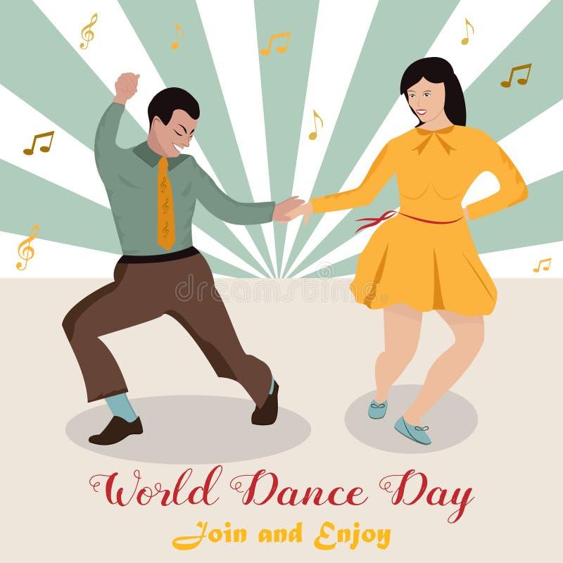 Illustration lumineuse de la boogie-woogie de danse de couples JOUR DE DANSE DU MONDE illustration de vecteur