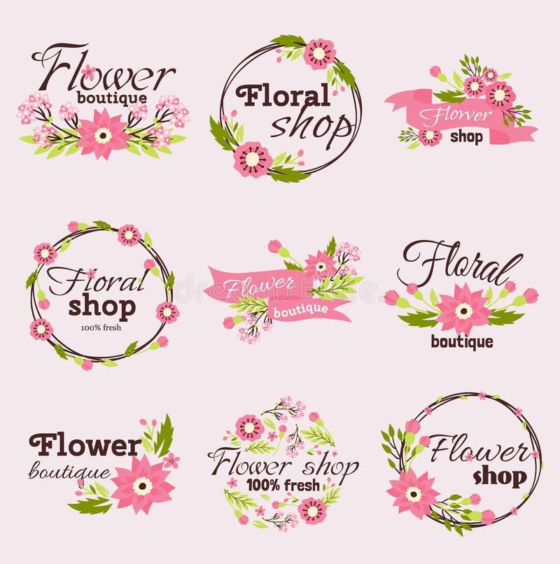 Illustration lumineuse de vecteur de fleuriste de signe illustration stock