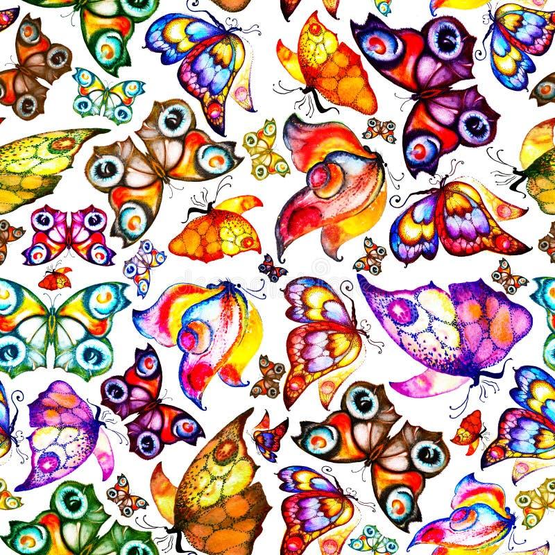 Illustration lumineuse des papillons, modèle sans couture sur un fond blanc watercolor handmade illustration de vecteur