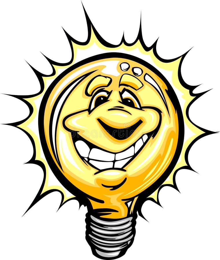 Illustration lumineuse heureuse de dessin animé d'ampoule d'idée illustration libre de droits