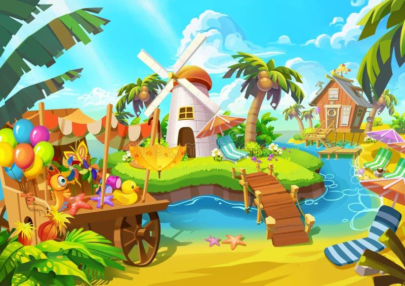 Illustration: Lycklig sandstrand Väderkvarn kabin, kokospalm, livsmedelsbutikvagn, öar royaltyfri illustrationer